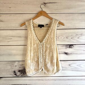 Carole Little Vintage Knit Embroidered Lace Up Top